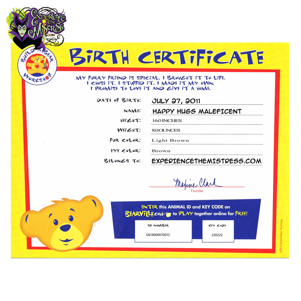 Build a bear workshop disney villains 3 piece costume for 16 plush maleficent diablo for Build a bear birth certificates
