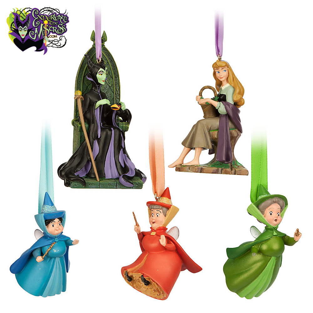Used Disney Christmas Decorations: Disney Store Art Of Aurora Collection Figural Ornament Set