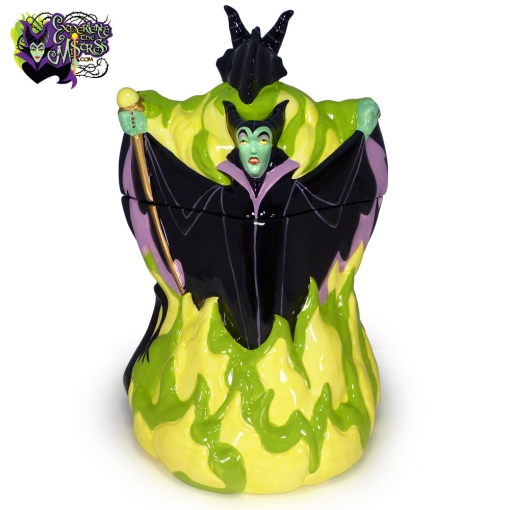 2004-Disney-Auctions-Disney-Villains-Double-Sided-Ceramic-Cookie-Jar-Maleficent-Dragon-001